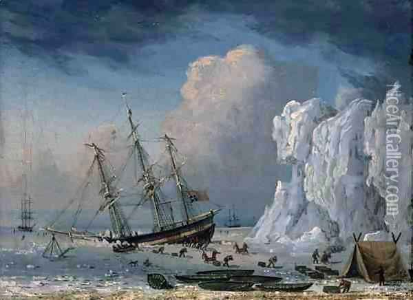 Caught in the Ice 1830 Oil Painting - Thomas A. Binks