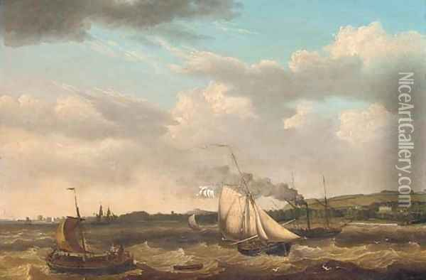 Caught in the tidal race offshore Oil Painting - Thomas A. Binks