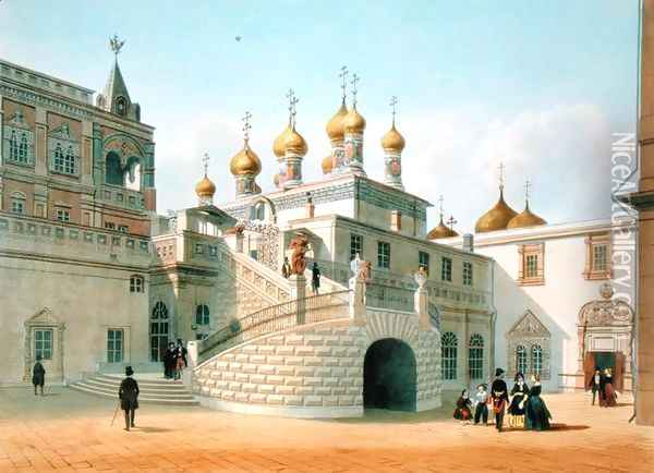 View of the Boyar Palace in the Moscow Kremlin 1840s Oil Painting - Felix Benoist