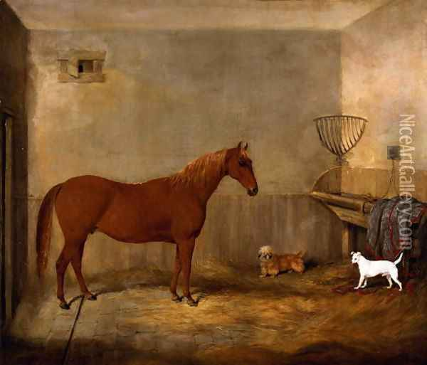 A Hunter and two dogs in a stable Oil Painting - Thomas W. Bretland