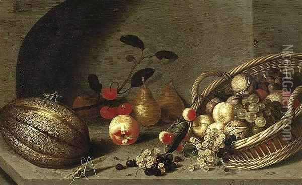 Still-Life of Fruit 1634-35 Oil Painting - Ambrosius the Younger Bosschaert