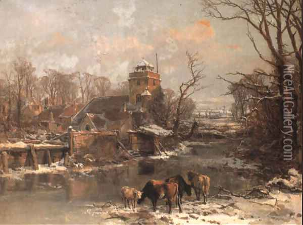 Cattle in a Winter Landscape 1855 Oil Painting - Charles Branwhite