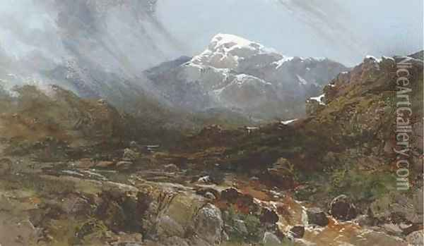 Mountainous landscape with rocky stream Oil Painting - Charles Branwhite