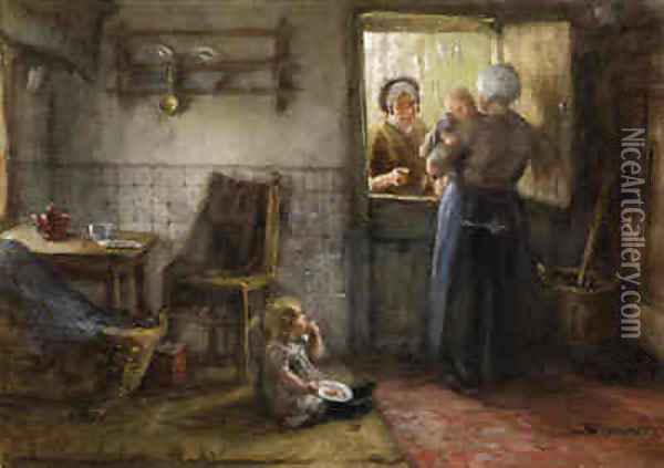 A Visitor at the Kitchen Door Oil Painting - Bernardus Johannes Blommers