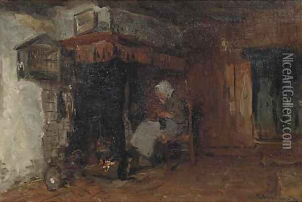 Knitting by the fire Oil Painting - Bernardus Johannes Blommers