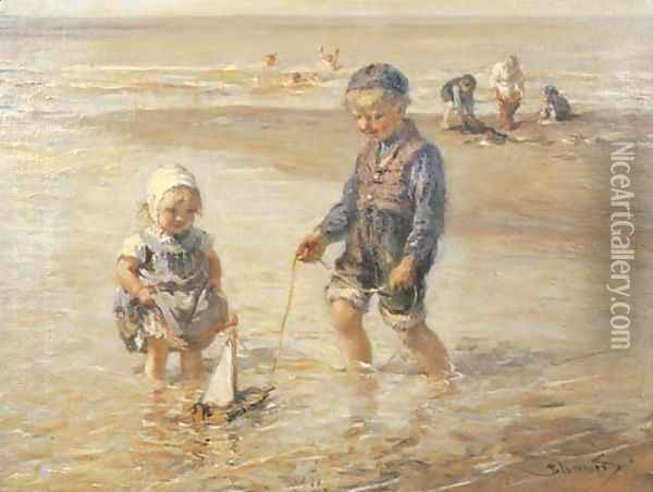 Playing in the surf Oil Painting - Bernardus Johannes Blommers