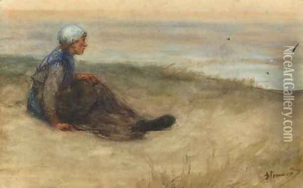 A fisherwoman in the dunes looking out over sea Oil Painting - Bernardus Johannes Blommers