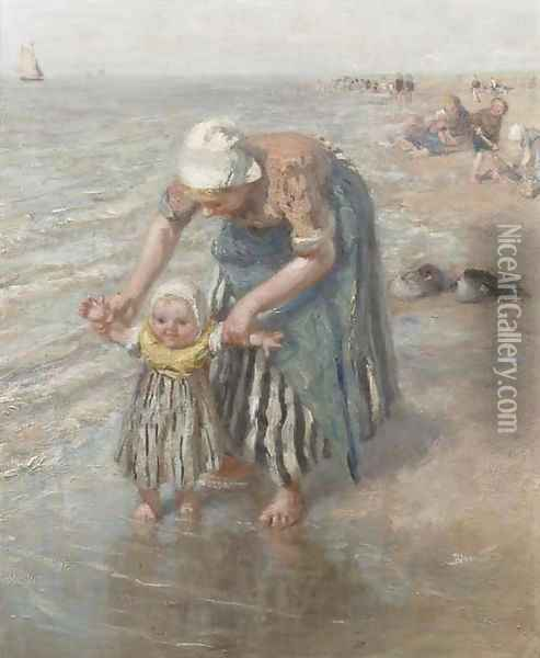 First steps in the surf Oil Painting - Bernardus Johannes Blommers