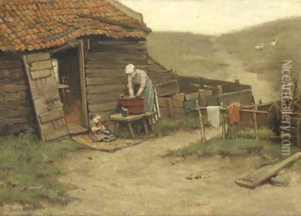 Washing day in the dunes Oil Painting - Bernardus Johannes Blommers