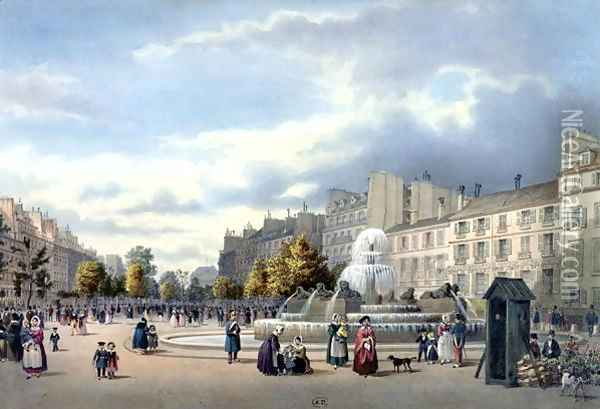 The Fountain of the Boulevard St. Martin, from 'Vue de Paris', c.1840 Oil Painting - Philippe Benoist
