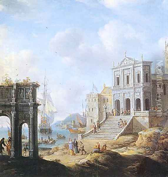 A Capriccio of an Italianate Harbour capriccio with the Arch of Constantine and a Church with Figures and shipping beyond 1663 Oil Painting - Jan Abrahamsz. Beerstraten