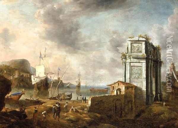 Capriccio of a Mediterranean Harbour Oil Painting - Jan Abrahamsz. Beerstraten