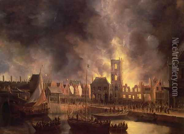 The Great Fire in the Old Town Hall, Amsterdam 1652 Oil Painting - Jan Abrahamsz. Beerstraten
