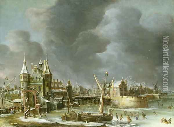 A View of the Regulierspoort Amsterdam in winter Oil Painting - Jan Abrahamsz. Beerstraten