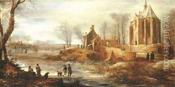A winter landscape with figures skating on a frozen river by a church Oil Painting - Jan Abrahamsz. Beerstraten