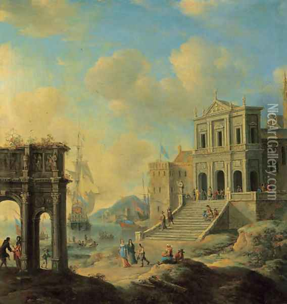A capriccio of an Italianate harbour capriccio with the Arch of Constantine and a church with figures, shipping beyond Oil Painting - Jan Abrahamsz. Beerstraten