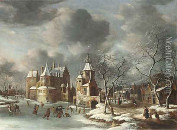 A village in winter with figures skating on a frozen river Oil Painting - Jan Abrahamsz. Beerstraten