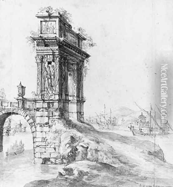 A Bridge with a classical Arch by a Mediterranean Harbour with Shipping beyond Oil Painting - Jan Abrahamsz. Beerstraten