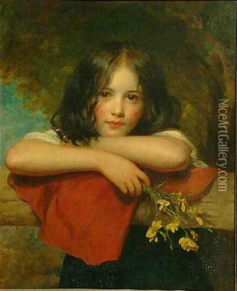 Portrait of a young girl leaning on a stone ledge Oil Painting - Charles Baxter