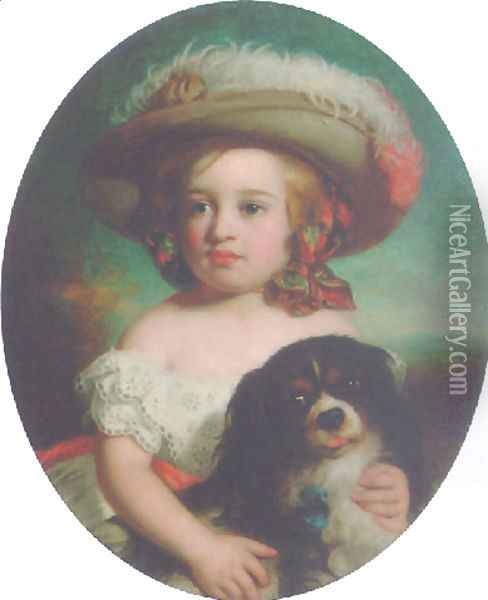 Portrait of a young girl, in a white dress and a plumed hat, with a spaniel 1870 Oil Painting - Charles Baxter
