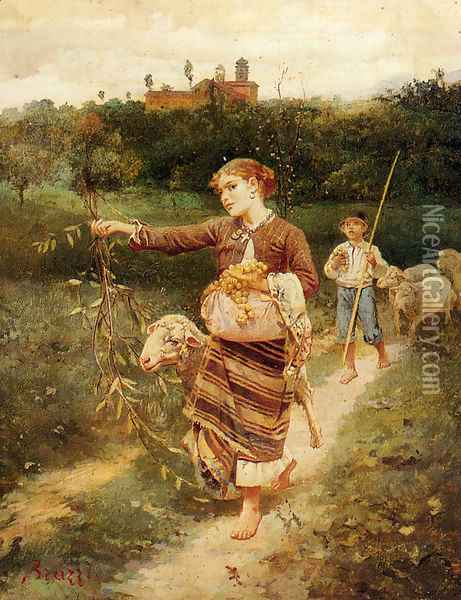 The Grape Pickers Oil Painting - Stefano Bruzzi