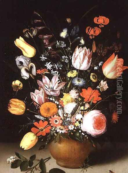 Still Life of Spring Flowers on a Ledge, 1615 Oil Painting - Peter Paul Binoit