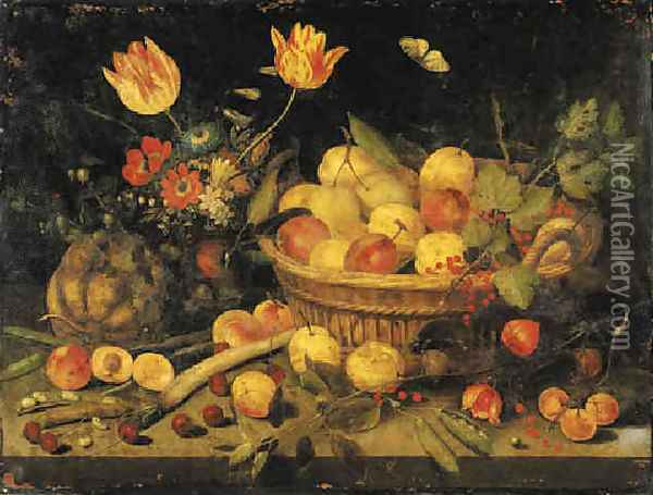 Plums and redcurrants in a basket, tulips, poppies and other flowers in a vase, with a gourd, peas, a parsnip and other fruit on a stone ledge 1632 Oil Painting - Peter Paul Binoit