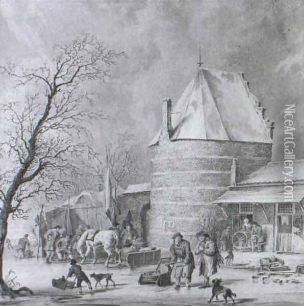 Skaters, Countryfolk and a Sledge on a frozen Moat near a Tower and Gate... Oil Painting - Cornelis Borsteegh