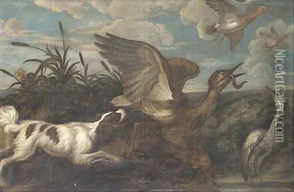 A spaniel chasing a bittern, with a heron and duck, in a landscape Oil Painting - Francis Barlow
