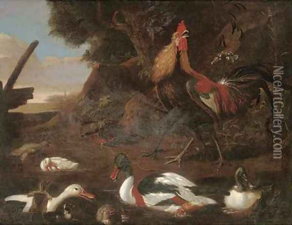 Cock, a hen, ducks and ducklings in a river landscape Oil Painting - Francis Barlow