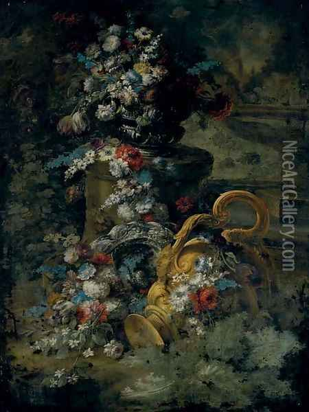 Tulips, roses, bluebells and other flowers in an urn, on a pedestal, a second urn below and a fountain beyond Oil Painting - Andrea Belvedere
