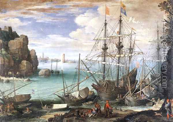 View of a Port c. 1607 Oil Painting - Paul Bril