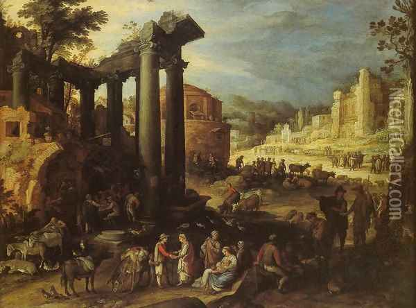 The Campo Vaccino with a Gypsy Woman Reading a Palm Oil Painting - Paul Bril