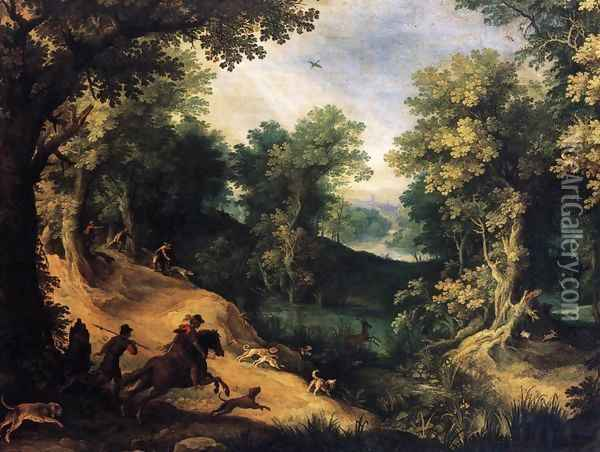 The Stag Hunt Oil Painting - Paul Bril