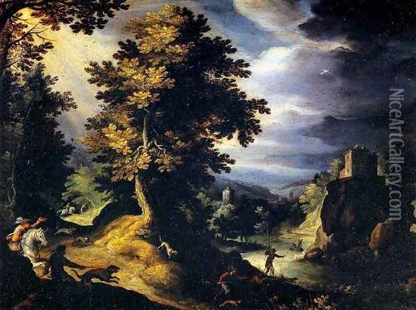 Landscape with Stag Hunt Oil Painting - Paul Bril