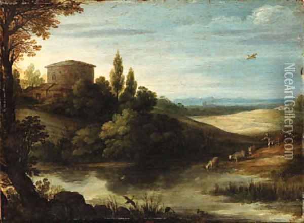 A landscape with a drover and cattle watering at a pond Oil Painting - Paul Bril
