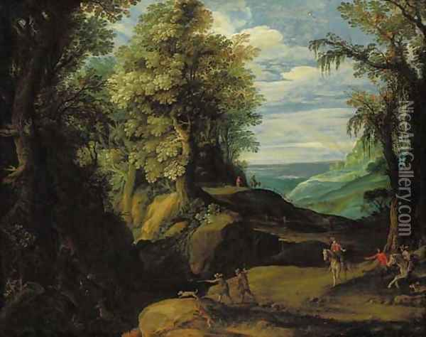 A stag hunt in a wooded lanscape Oil Painting - Paul Bril