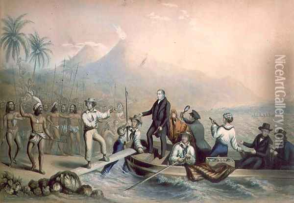 The Return of the Rev. John Williams at Tanna in the South Seas, the day before he was massacred Oil Painting - George Baxter
