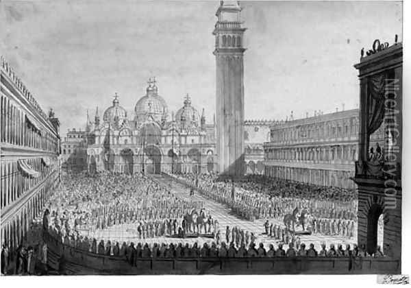 A View of Piazza San Marco with the Ceremony for the Return of the Bronze Horses to the Venetian State on 13 December 1815 Oil Painting - Giuseppe Borsato