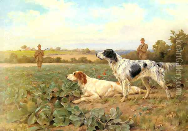 In The Field, Shooting Oil Painting - Thomas Blinks