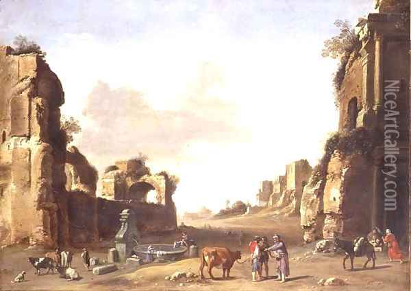 Classical Ruins with Peasants Watering their Animals Oil Painting - Bartholomeus Breenbergh