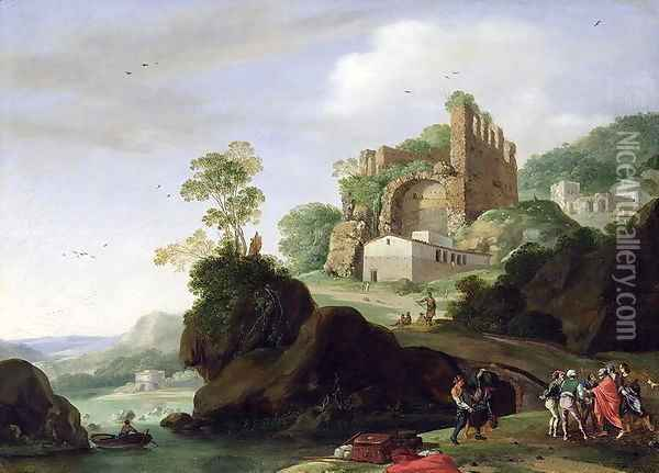 St. Peter and St. John in a Landscape with Ruins, c.1625 Oil Painting - Bartholomeus Breenbergh