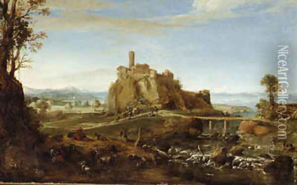 An Italianate Landscape with the town of Acquapendente, near Rome, and Shepherds and Washerwomen by the Banks of a River Oil Painting - Bartholomeus Breenbergh