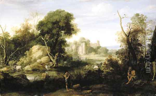 A classical landscape with Mercury and Argos Oil Painting - Bartholomeus Breenbergh