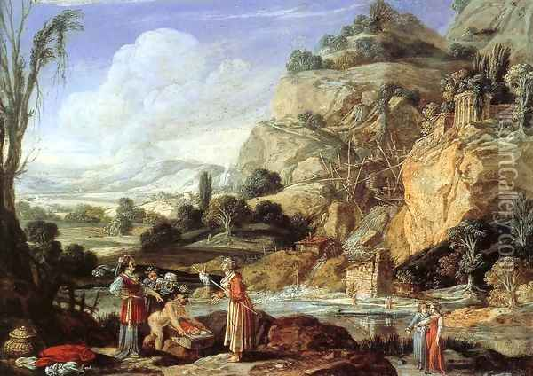 Landscape with the Finding of Moses Oil Painting - Bartholomeus Breenbergh