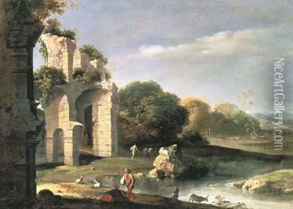 Figures in a landscape with classical ruins Oil Painting - Bartholomeus Breenbergh