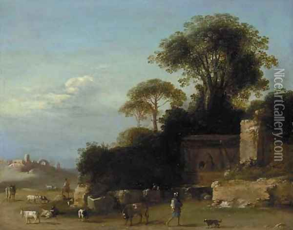 An Italianate landscape with goatherds amongst ruins Oil Painting - Bartholomeus Breenbergh