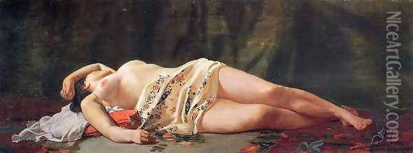 Reclining Nude Oil Painting - Jean Frederic Bazille