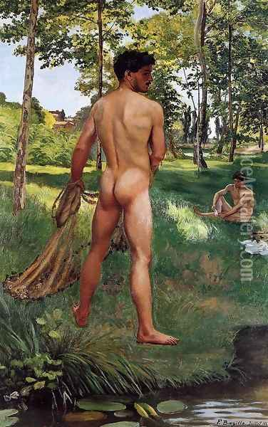Fisherman with a Net Oil Painting - Jean Frederic Bazille