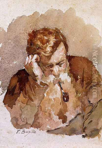 Man with a Pipe Oil Painting - Jean Frederic Bazille